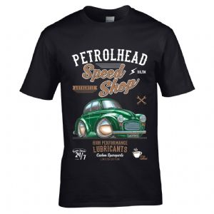 Premium Koolart Petrolhead Speed Shop Motif With Green Morris Moggy Minor Car Image Mens T-shirt Top